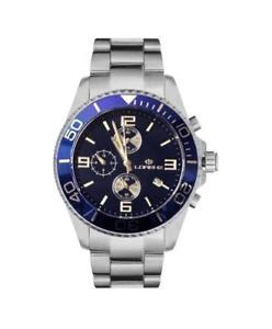 【送料無料】orologio uomo lorenz sport 30049aa chrono bracciale acciaio blu sub 100mt