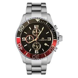 【送料無料】orologio uomo lorenz sport 30049gg chrono bracciale acciaio nero rosso sub 100mt