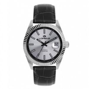 【送料無料】orologio lorenz automatic ginevra pelle nera silver 30091gg