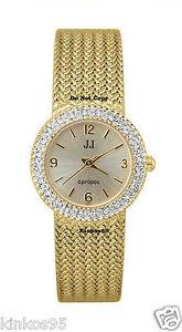 【送料無料】 ladies jules jurgensen crystal gold mesh watch