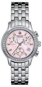 【送料無料】swiss military hanowa womens 06700204010 chronograph crystals pink mop watch