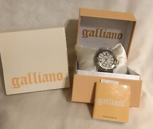 【送料無料】authentic galliano mens wrist watch parlez moi deternite chr white chrono bnib