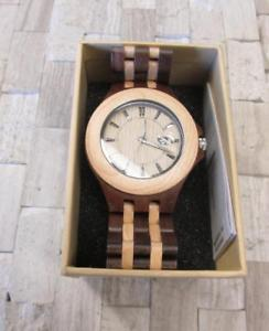 100 natural wooden mens quartz wristwatch with date window ~ ss7644