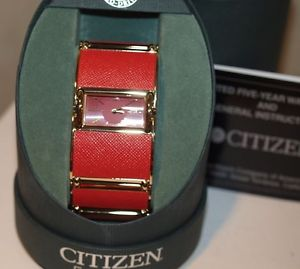 citizel lady fashion watch in red and gold, ew9002  model