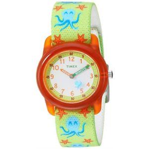 timex boys tw7c13400 time machines greenorange octopus elastic fabric watch