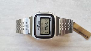 junghans lcd water resistant vintage 70 tutto acciaio 114911 nuovo  nos