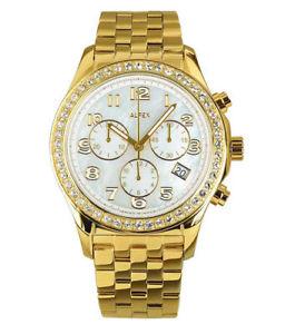 【送料無料】alfex 5678803 orologio donna placcato oro 18kt quadrante madreperla lista 530