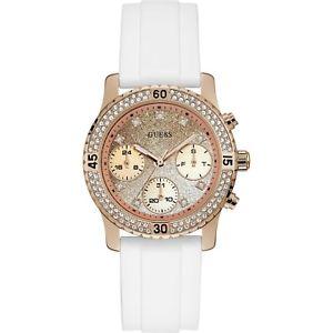 【送料無料】orologio guess w1098l5 cristalli silicone bianco 38mm multifunzione oro rosa