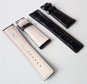 【送料無料】iwc cinturino watch strap genuine crocodile nero 2218