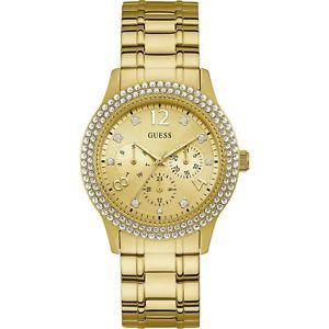 【送料無料】orologio guess bedazzle w1097l2 acciaio dorato cristalli 40mm multifunzione oro