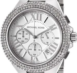 michael kors mk5634 camille ladies silver pave crystals chrono watch