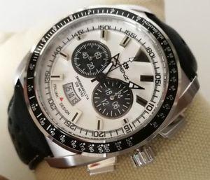 【送料無料】orologio uomo lorenz,chrono,44 mm,cronografo,cinturino pelle traforato,100 metri