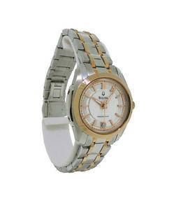 【送料無料】bulova precisionst 98m106 womens round mother of pearl date watch