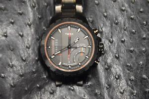 【送料無料】timex t2p273 iq linear chronograph 24 hour 100m date mens classic explorer watch
