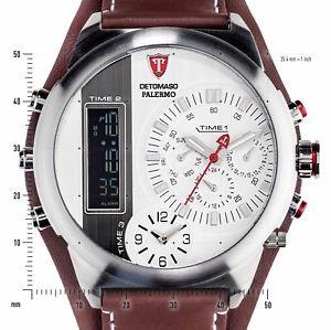 【送料無料】detomaso palermo mens wrist watch xxl chronograph alarm 3 time zones brown 58mm