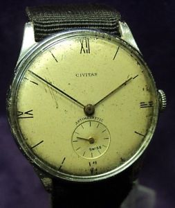 【送料無料】serviced~1940s civitas helbros 17j moeris swiss solid lugs military watch
