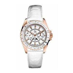 【送料無料】 guess collection gc white leather women rose gold tone watch i41006m1 nwt