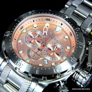 invicta coalition forces stainless steel chrono 52mm rose gold tone watch