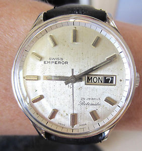 【送料無料】gents 1970s swiss ss swiss emperor automatic 25j as 1906 day date watch service