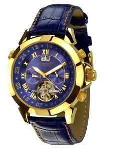 neu calvaneo 1583  astonia luxury blue gold hochfeine automatik kalender uhr