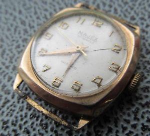 【送料無料】neues angebotvintage majex 21 jewel mens 9ct gold wrist watch