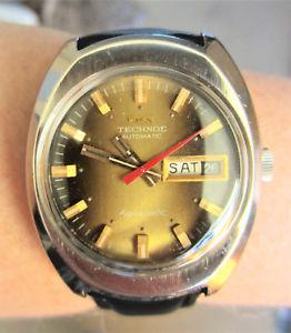 【送料無料】gents 1970s ss technos aquamatic 5atm auto day date watch eta 2789 serviced