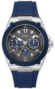 【送料無料】guess mens legacy date display silicone strap blue w1049g1 watch 17