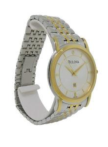 【送料無料】bulova 98h48 mens round analog date gold amp; silver tone stainless steel watch