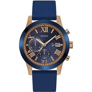 【送料無料】orologio guess atlas w1055g2 watch silicone blu oro cronografo 45 mm