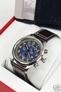 【送料無料】*rotary* mens st moritz brown leather strap chronograph aviator watch