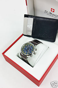 *rotary* mens st moritz brown leather strap chronograph aviator watch