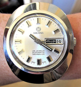 【送料無料】1970s gents ss michael automatic 25j as 2066 day date watch serviced warranty