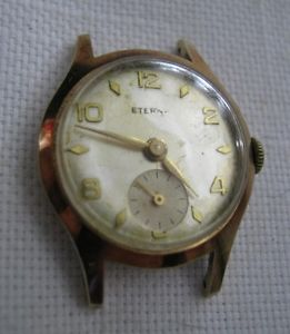 【送料無料】14k 585 rose gold swiss eterna 24mm wristwatch 1952 works amp; 1956 case, runs lqqk