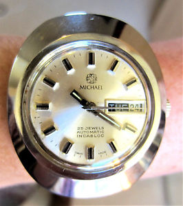 1970s gents ss michael automatic 25j as 2066 day date watch serviced warranty