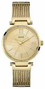【送料無料】guess womens soho gold pvd plate, crystal w0638l2 watch 17
