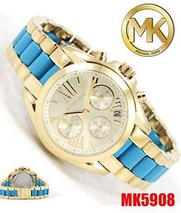 【送料無料】 womens michael kors mk5908 bradshaw gold tone steel amp; blue acetate watch