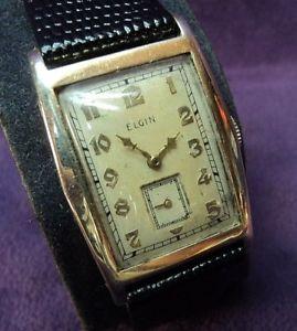 【送料無料】serviced~full sized~1938 elgin 10k gf~4 adj~17j 555 usa mens tank watch