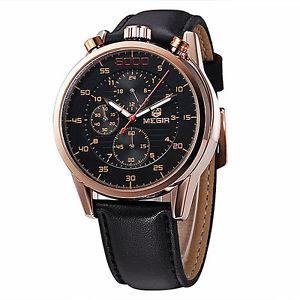 【送料無料】megir 3005g men 24 hours 6 hands chronograph leather quartz watch