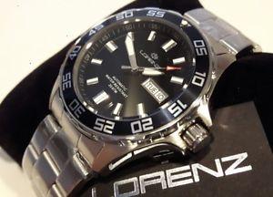 【送料無料】orologio uomo lorenz,scuba automatico,professional diver 200 metri,day date,nero