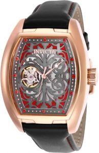 【送料無料】invicta tonneau s1 rally 24 jewel automatic open heart 18kt rose gold watch