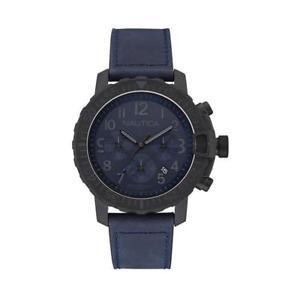 【送料無料】orologio uomo nautica nms 01 nai21005g chrono pelle blu nero sub 100mt