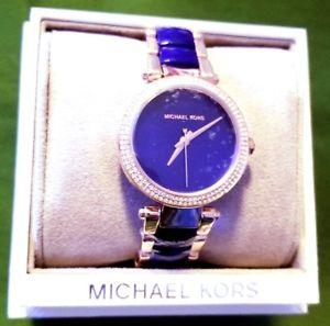 genuine mk michael kors womens blue mini parker watch in gift box mk6527