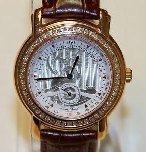 【送料無料】lucien piccard 27026ro swiss made mens rose gold crystal watch leather strap