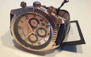 orologio uomo lorenz,chrono,cassa pvd oro rosa,nero,38 mm,100 mt,cinturino pelle