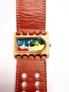 【送料無料】wooden watch mistura handmade ferro design brown leather multicolor flowers