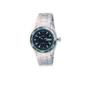 【送料無料】orologio automatico uomo lorenz 10100gg bracciale acciaio nero verde sub 100mt