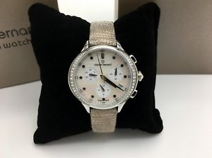 【送料無料】claude bernard by edox womens code chronograph swiss mother of pearl watch