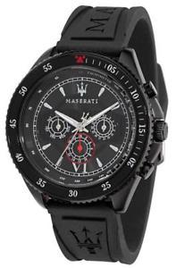 【送料無料】orologio uomo maserati stile r8851101001 multifunzione silicone nero sub 100mt