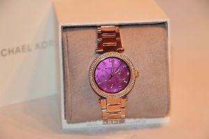 【送料無料】michael kors womens mini parker rose gold stainless steel bracelet watch mk6403