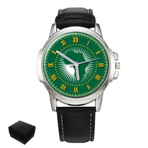 【送料無料】african union flag gents mens wrist watch gift engraving
